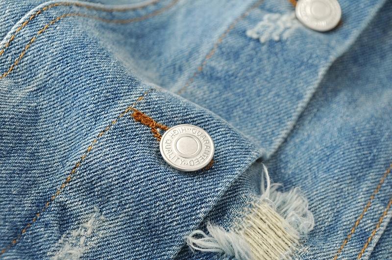 Długa jeansowa kurtka kwiatowy haft long katana S