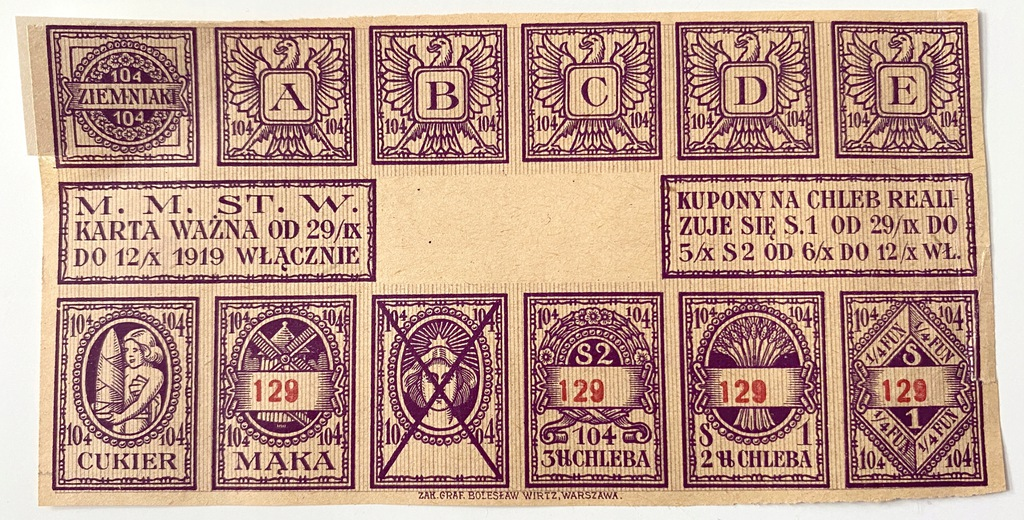 3690. Warszawa okres 104 - skasowany kupon dodatk.