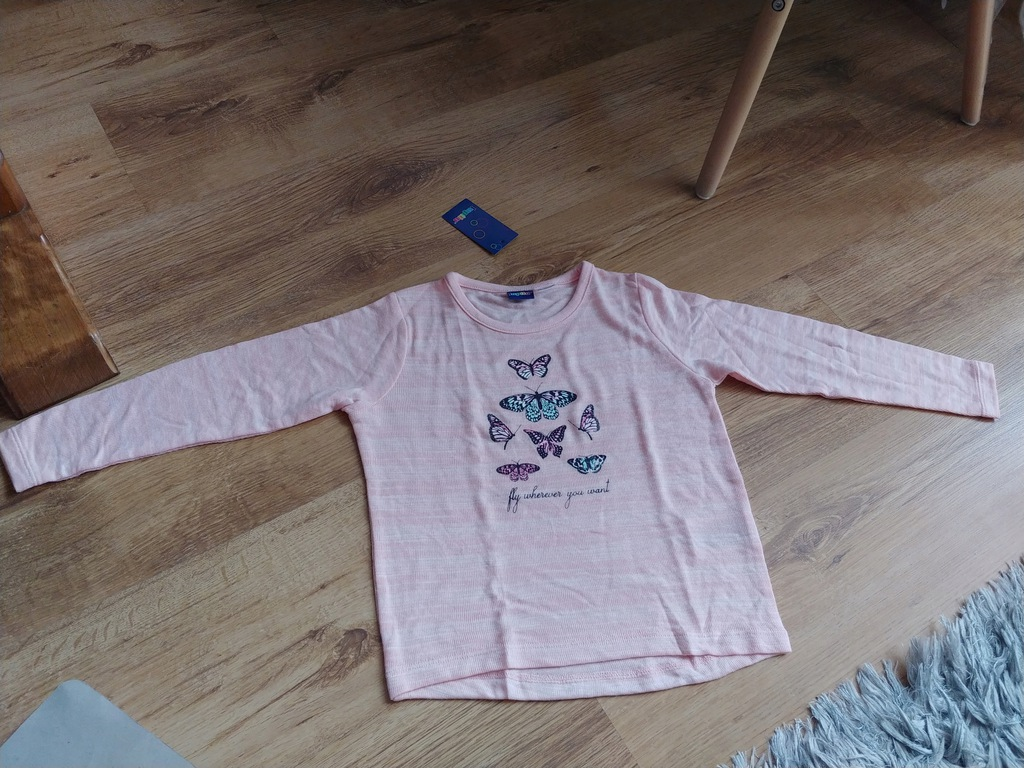 Lupilu sweterek cienki różowy motylki 110-116cm no