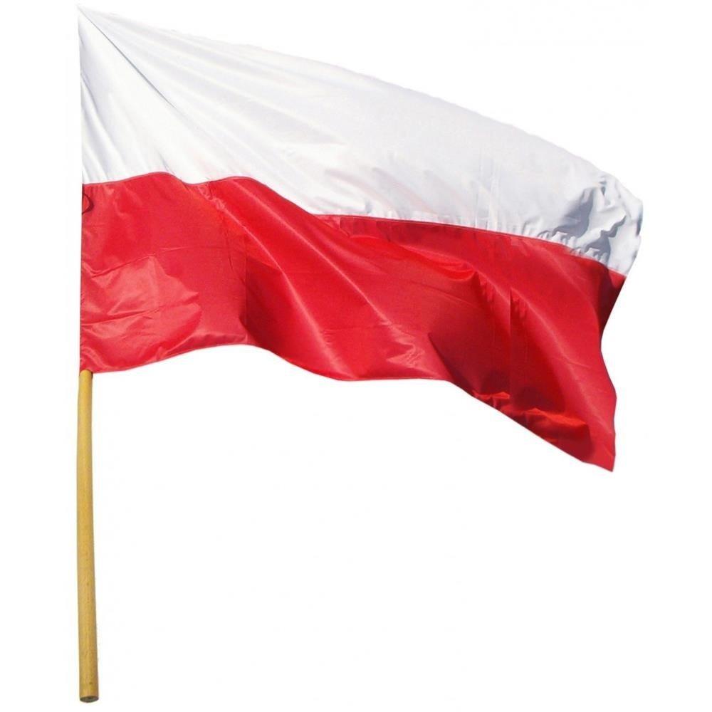 Flaga narodowa Polska 112 X 70 cm z drzewcem 120cm