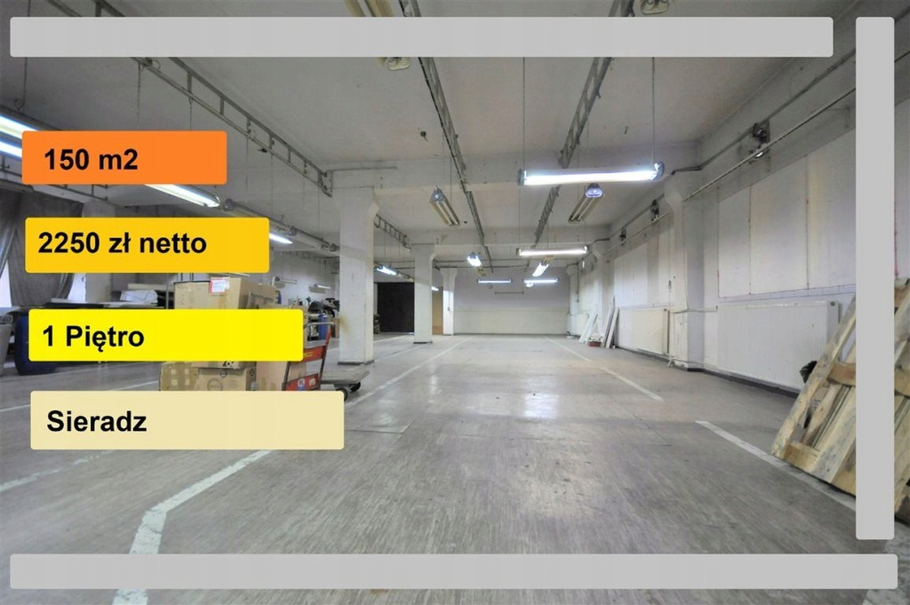 Magazyny i hale, Sieradz (gm.), 150 m²
