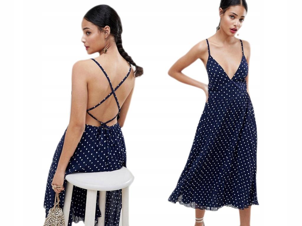 Design - Plisowana Granatowa Sukienka w Grochy XXS
