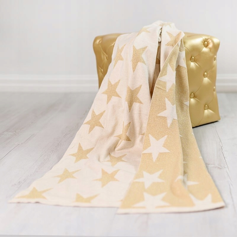 Bizzi Growin Gold Stars Blanket kocyk tkany Złote