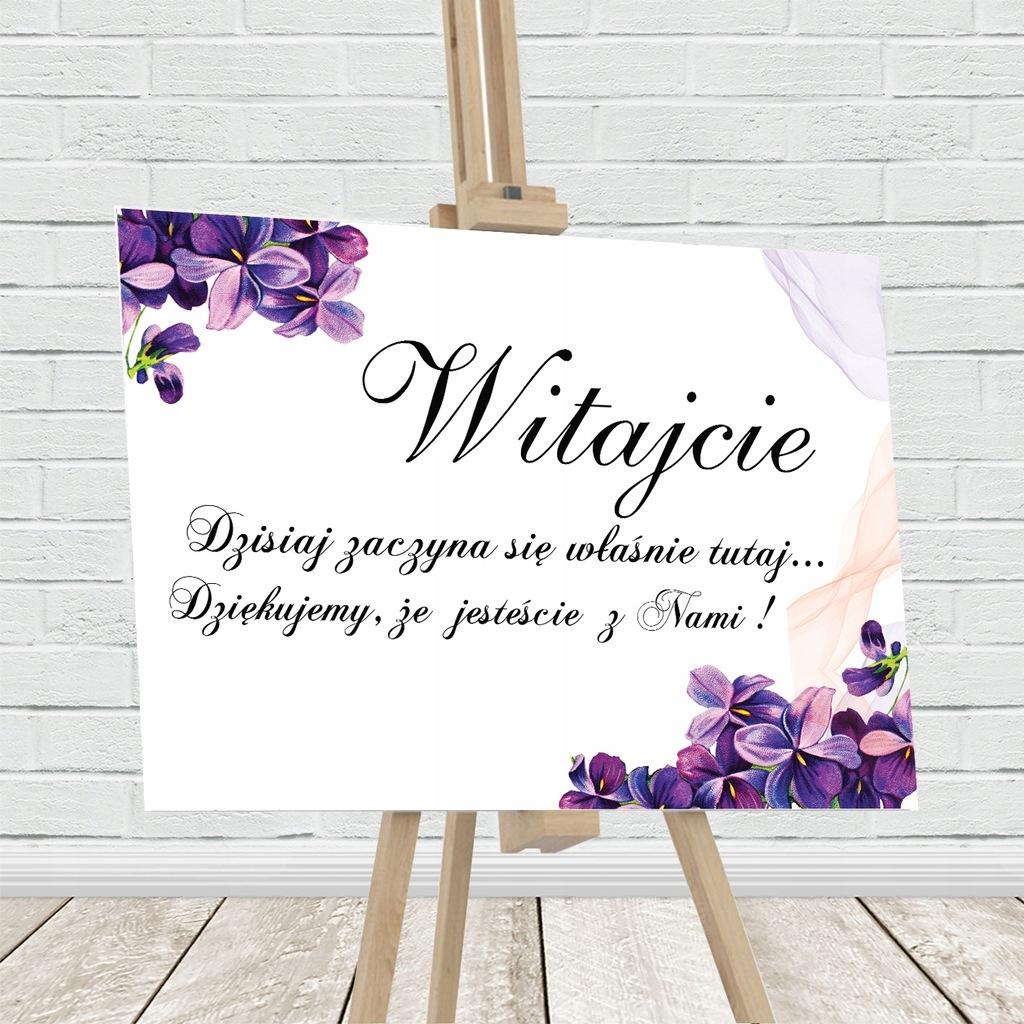 Tablica powitalna, fioletowe kwiaty
