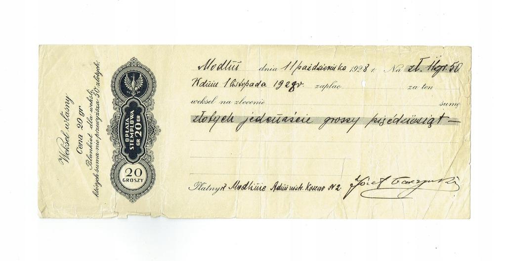 Weksel 3 Modlin Administracja Koszar nr 2 1928