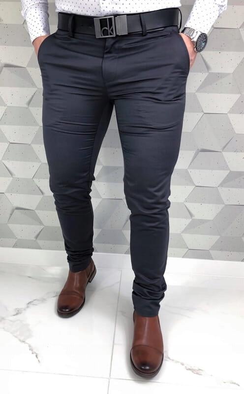 Szare wizytowe męskie spodnie Imaginazzi 38