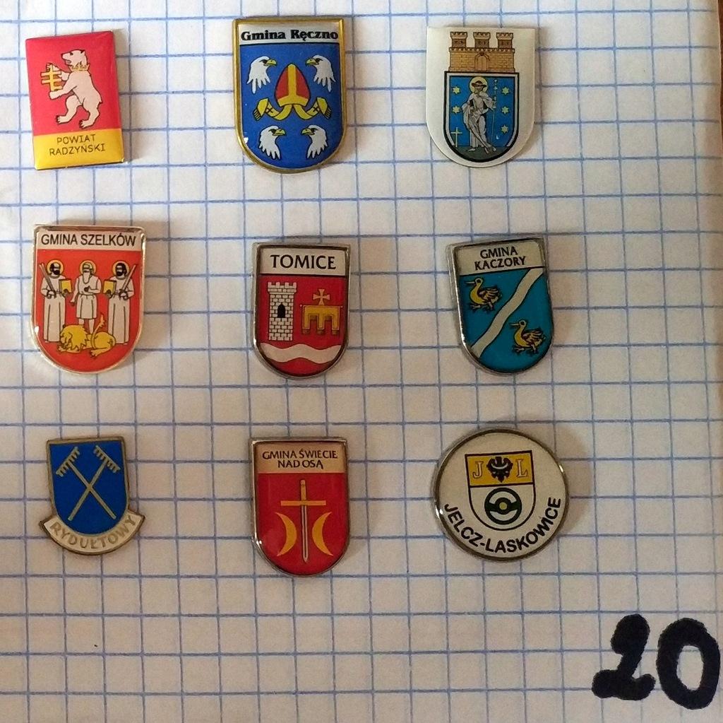Zestaw odznak herb gmina powiat mix heraldyka 20