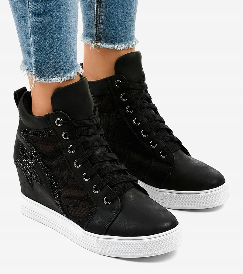 Czarne sneakersy trampki na koturnie JK 53 39