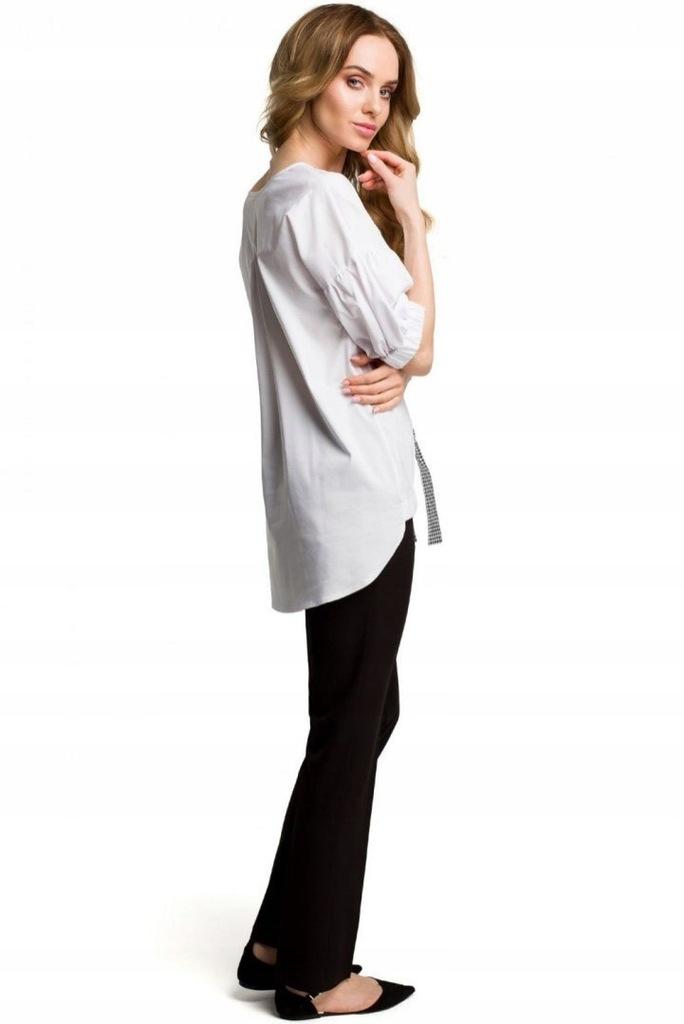 Bluzka asymetryczna biała wiskoza rękaw 34 gumka okrągły