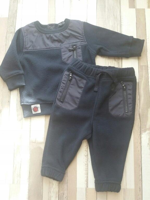 NEXT polarowy komplet, bluza+spodnie r. 80
