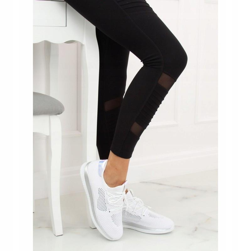Przewiewne buty sportowe A 120 WHITESILVER białe   Buty