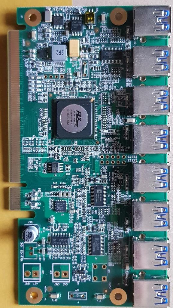 Nowy PCI Express 1 do 8 USB Adapter Rozszerzenie