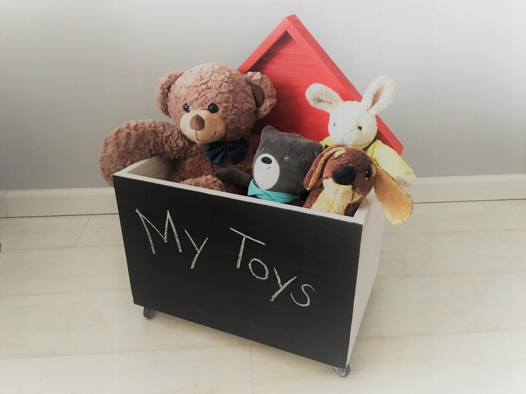 Drewniana DUŻA skrzynia na zabawki domek TABLICA