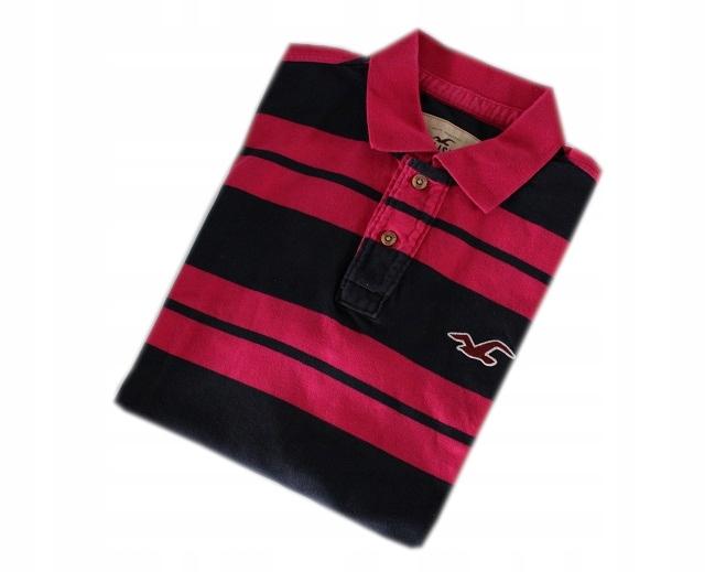 HOLLISTER koszulka polo w paski XL nowa