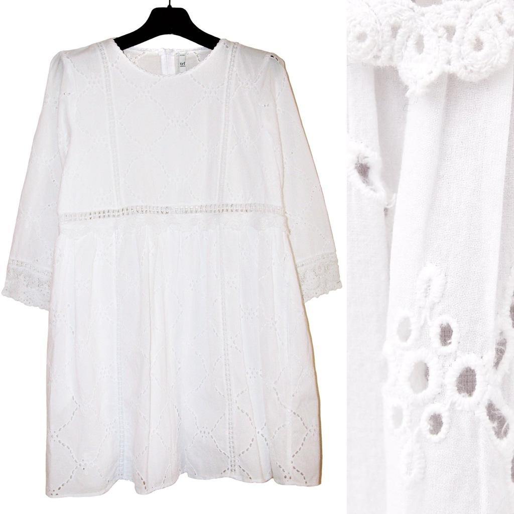 ZARA Piękna Biała HAFTOWANA Sukienka Kombinezon XS
