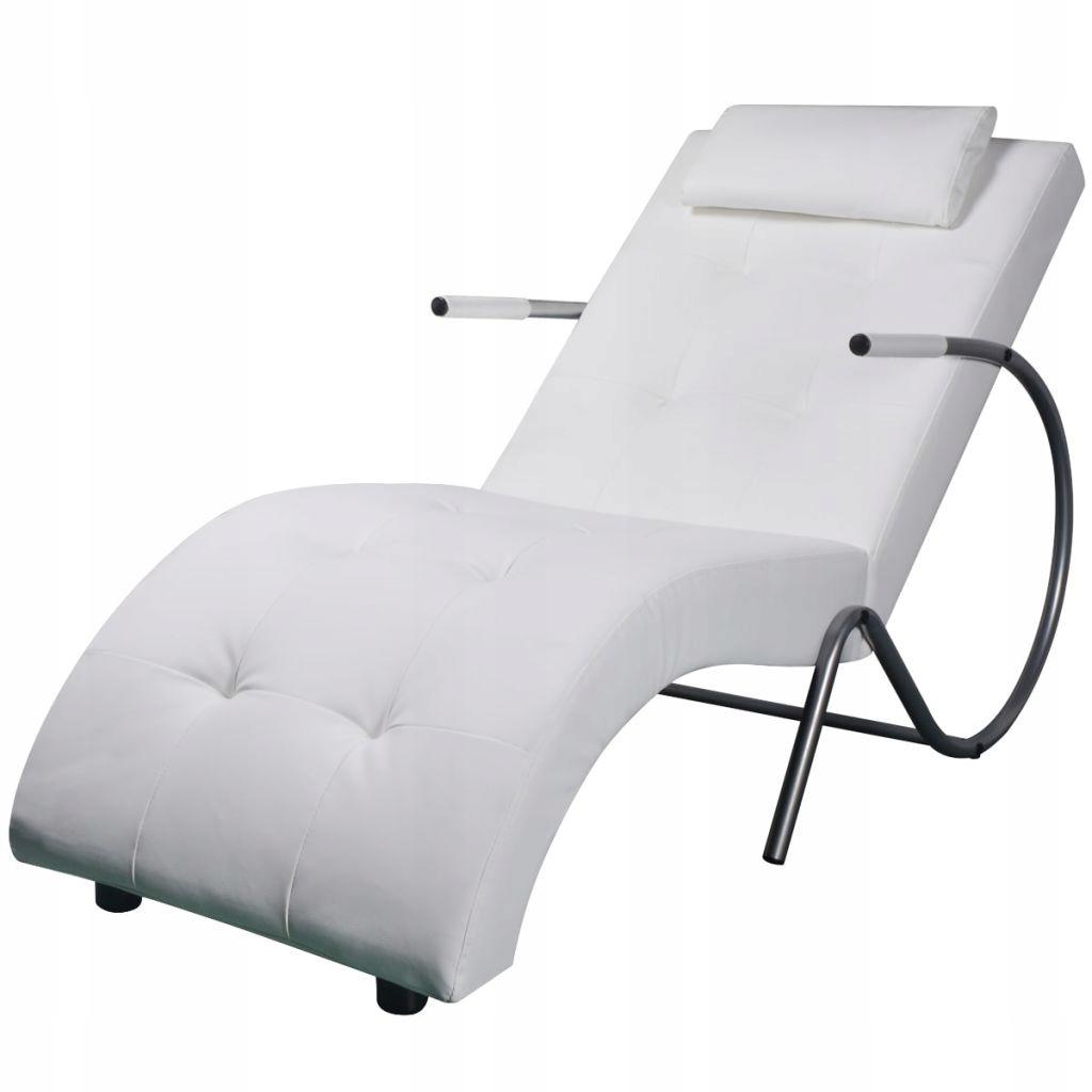 Szezlong z poduszką, biały, sztuczna skóra