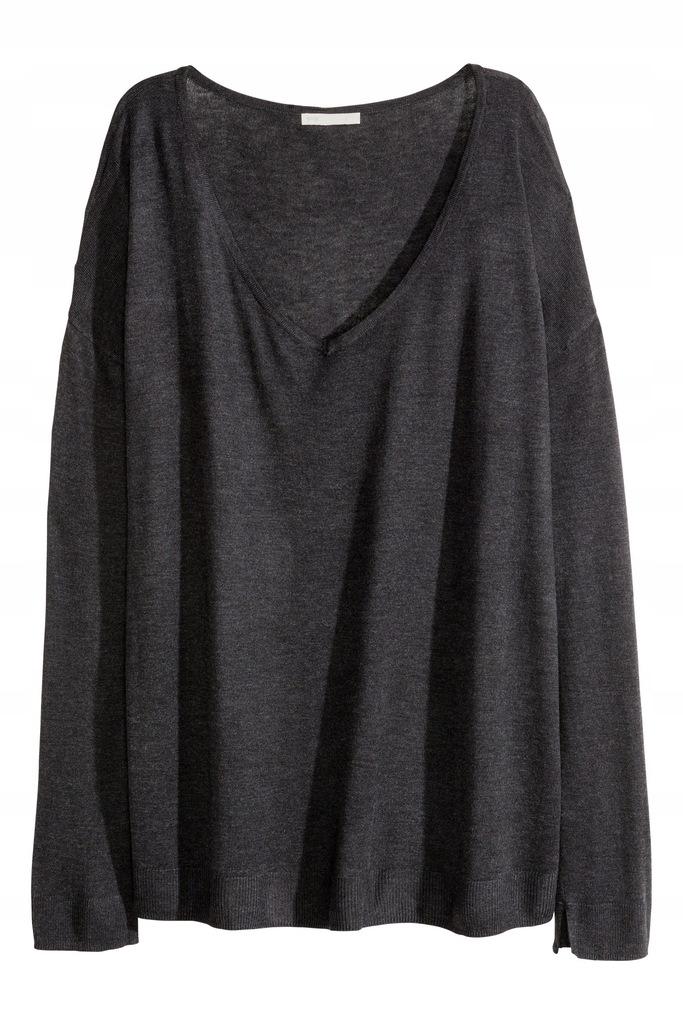 H&M Cienki sweter z dekoltem w serek v neck M