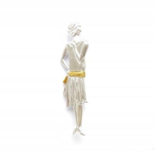Venus Galeria - Broszka srebrna - Biała dama retro