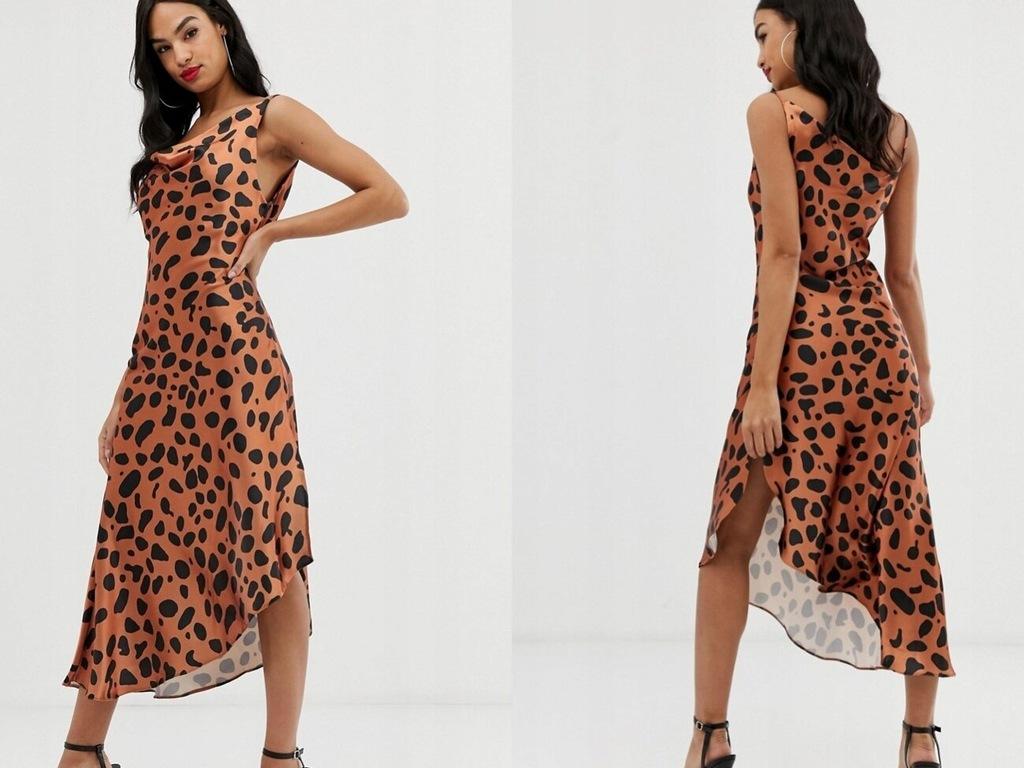 Błyszcząca sukienka midi z nadrukiem zwierzęcym 32