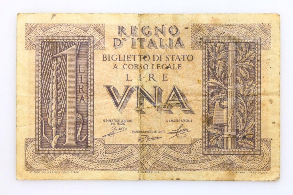 BANKNOT - Włochy - 1 Lir 1939