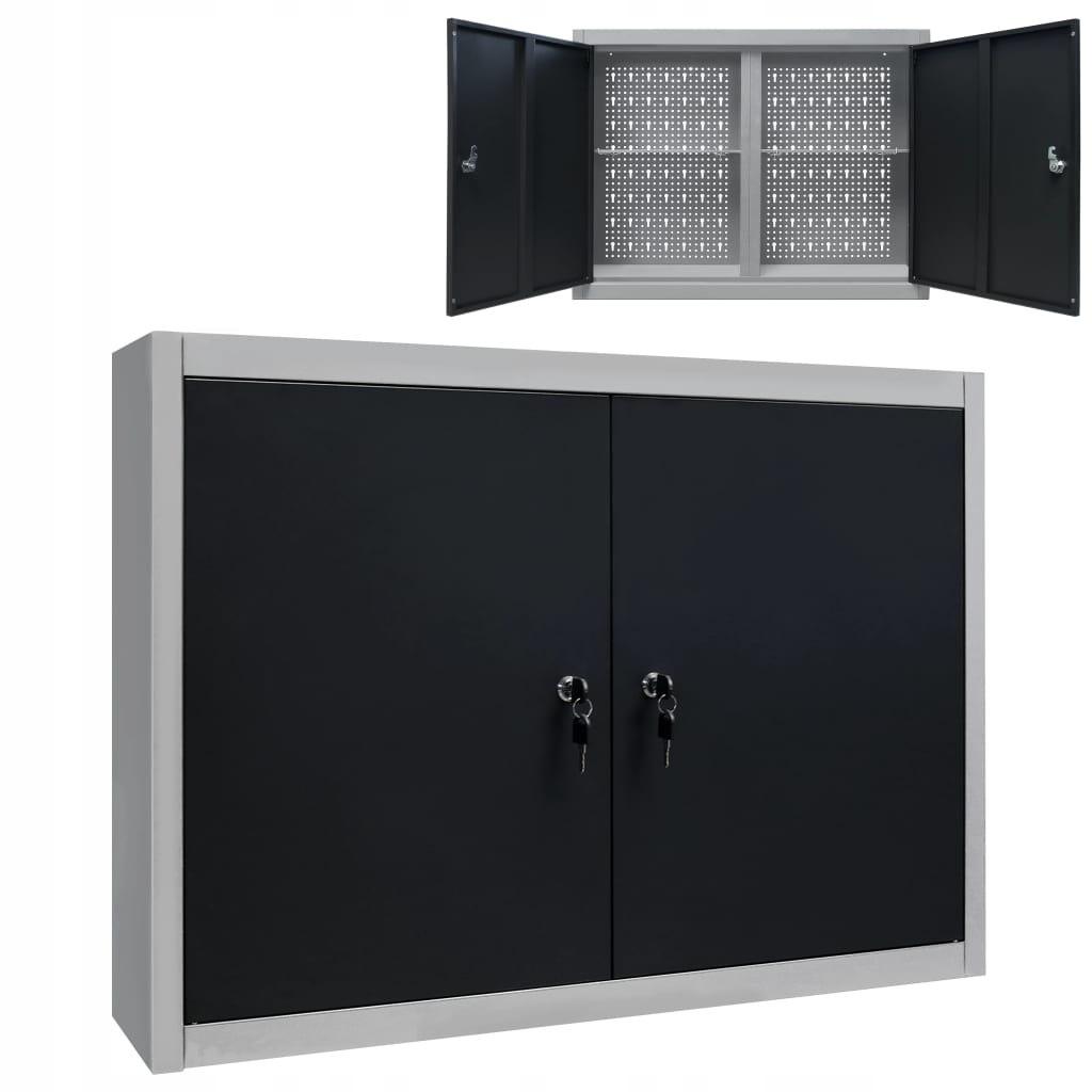 VidaXL Ścienna szafka narzędziowa, metalowa, szaro