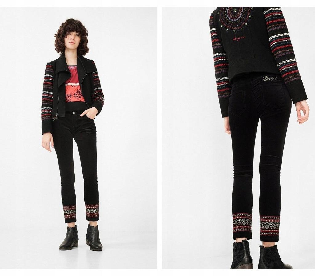 Czarne welurowe haftowane spodnie (30)