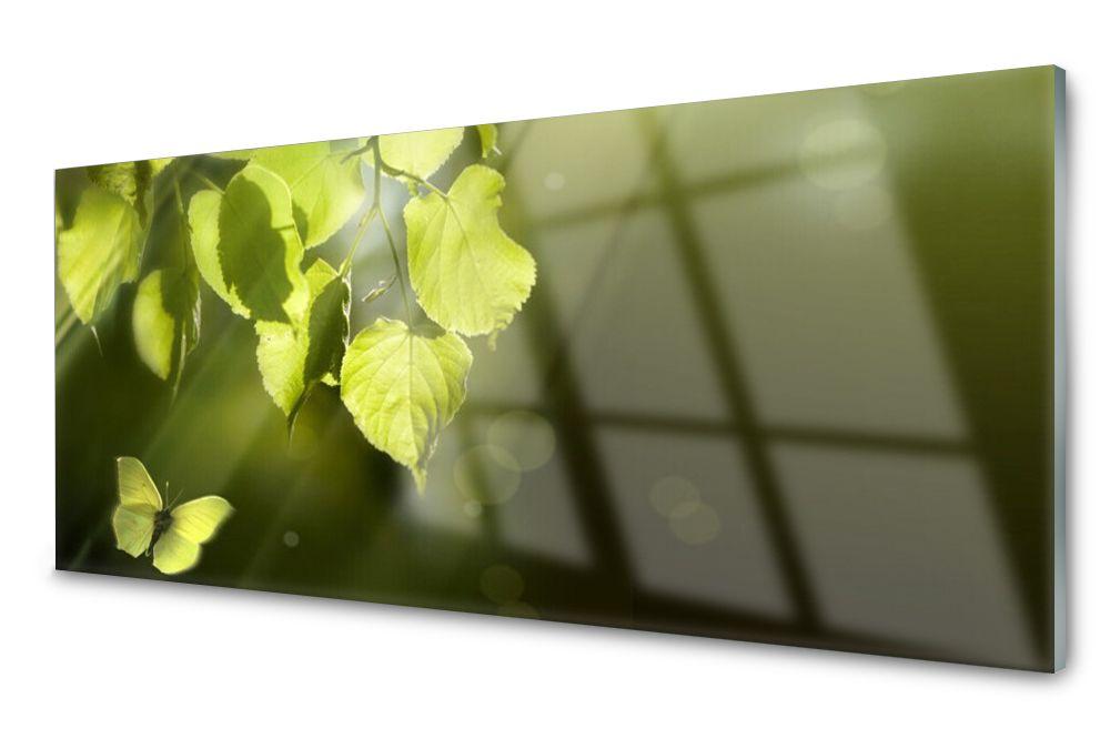 Lacobel Panel Szklany Ścienny Liście Słońce 120x60