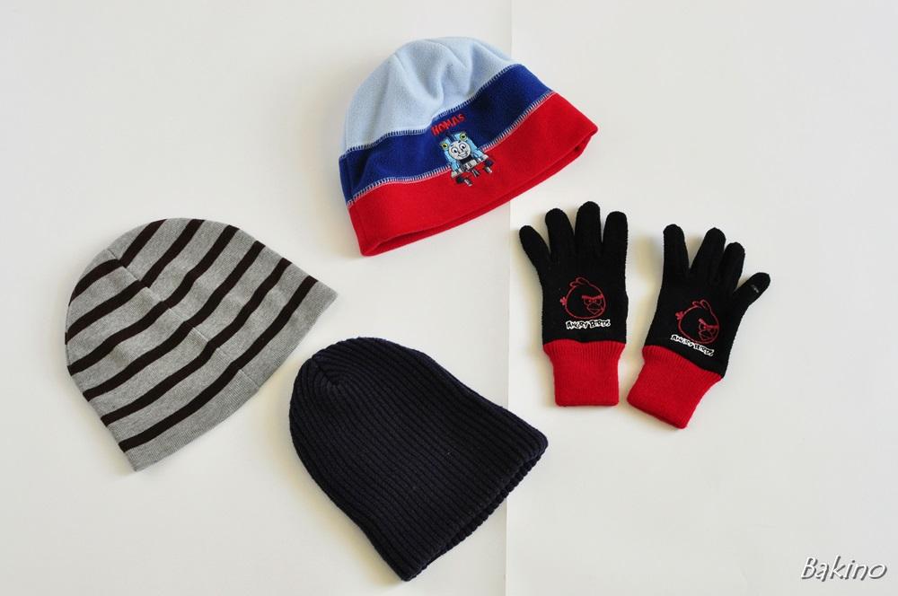 3 PAK czapki H&M przejściowe + rękawiczki,104
