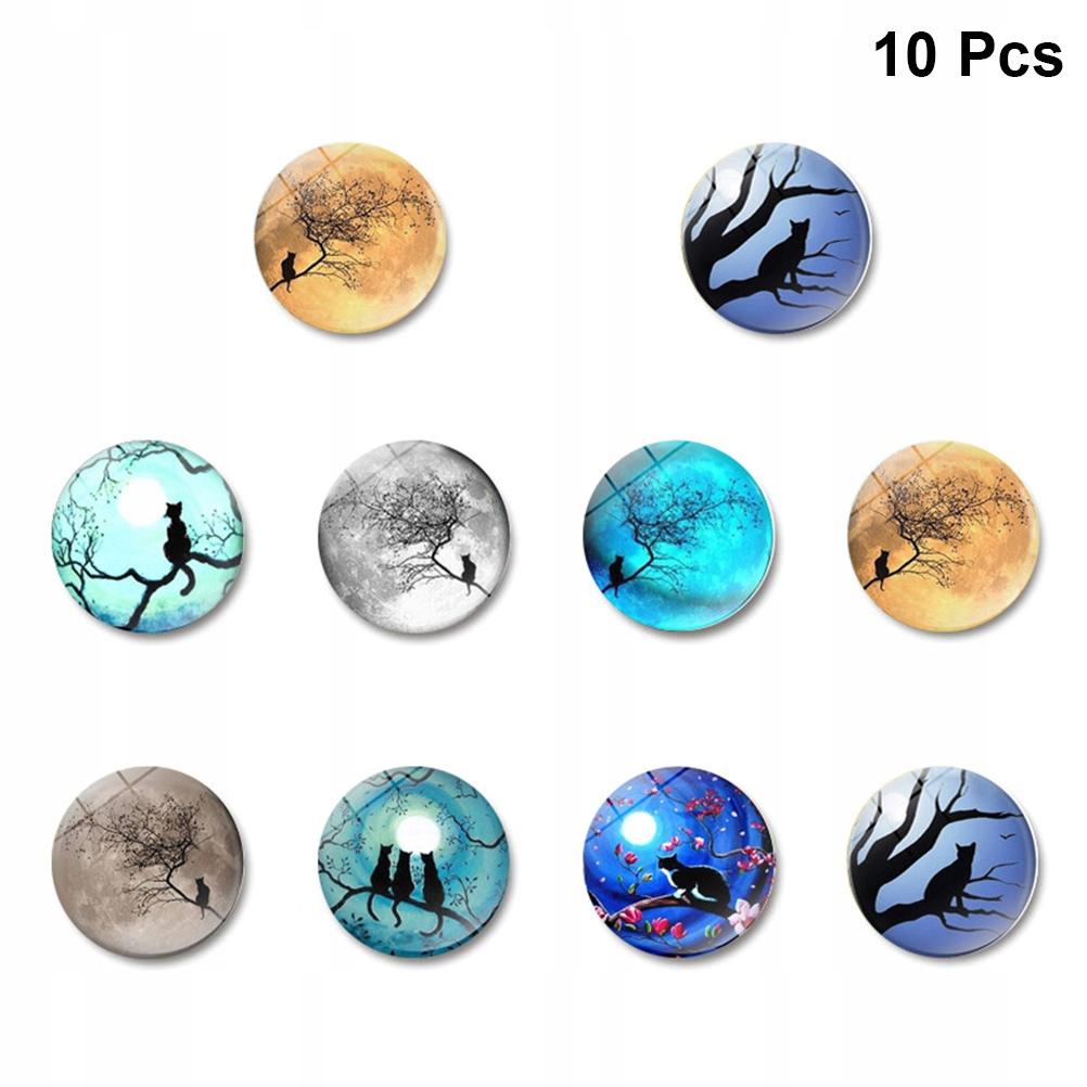 10 sztuk Czarny Kot Pod Księżycem Magnesy Na Lodów