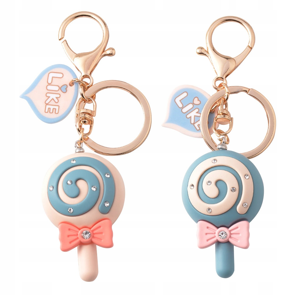 2pcs Colorful Bowknot Candy Hanging Key Ring Ornam