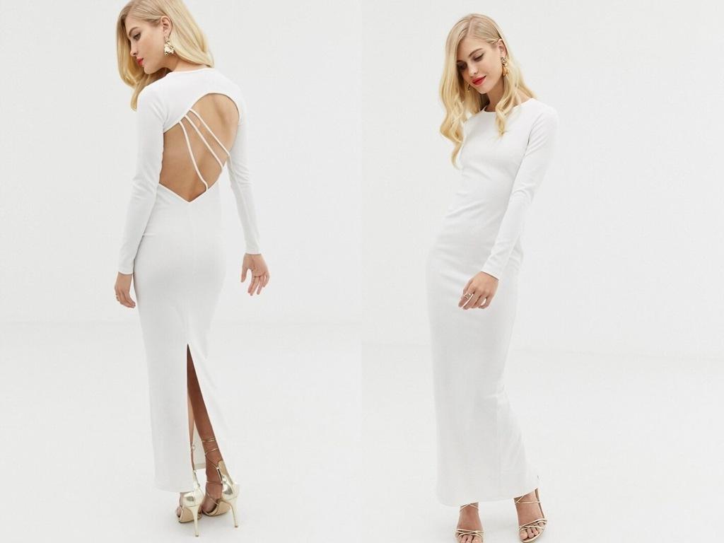 Design biała dopasowana długa suknia plecy S/36