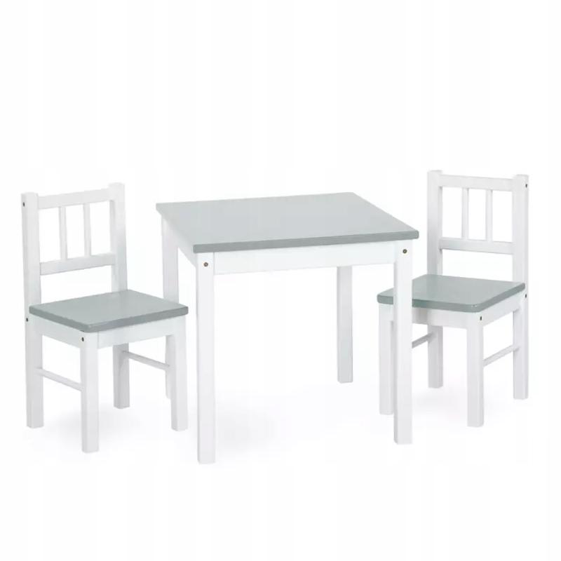 SUPER KLUPŚ Stolik+dwa krzesła JOY biały-szary