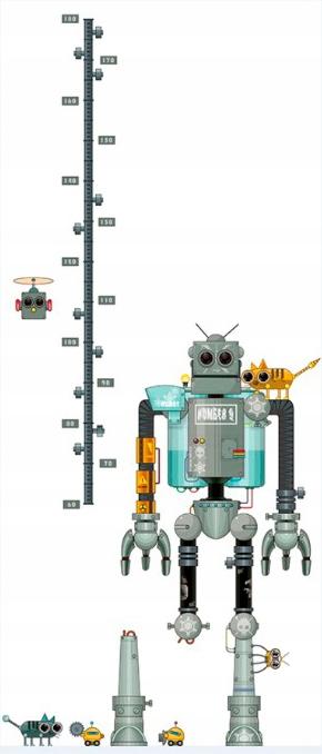 Naklejki na ścianę dziecko MIARKA WZROSTU ROBOT