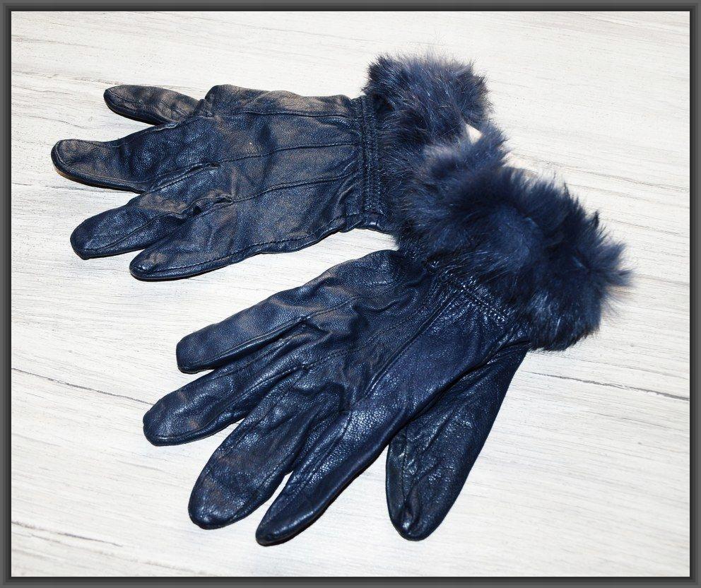 REMA _ rękawiczki skóra naturalna futro królik
