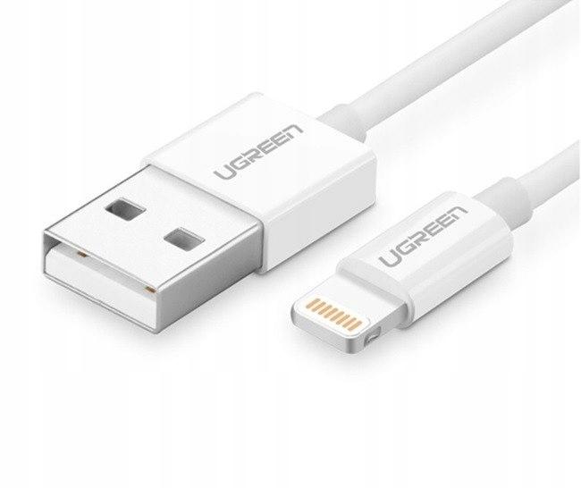 Niklowany kabel Lightning UGREEN MFi 1m (biały)