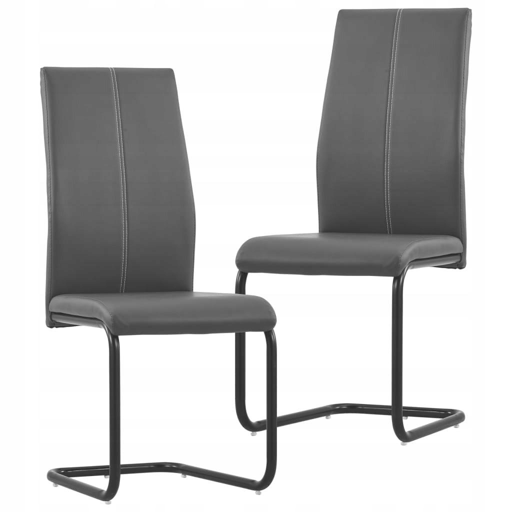 Krzesła stołowe, wspornikowe, 2 szt., szare, sztu