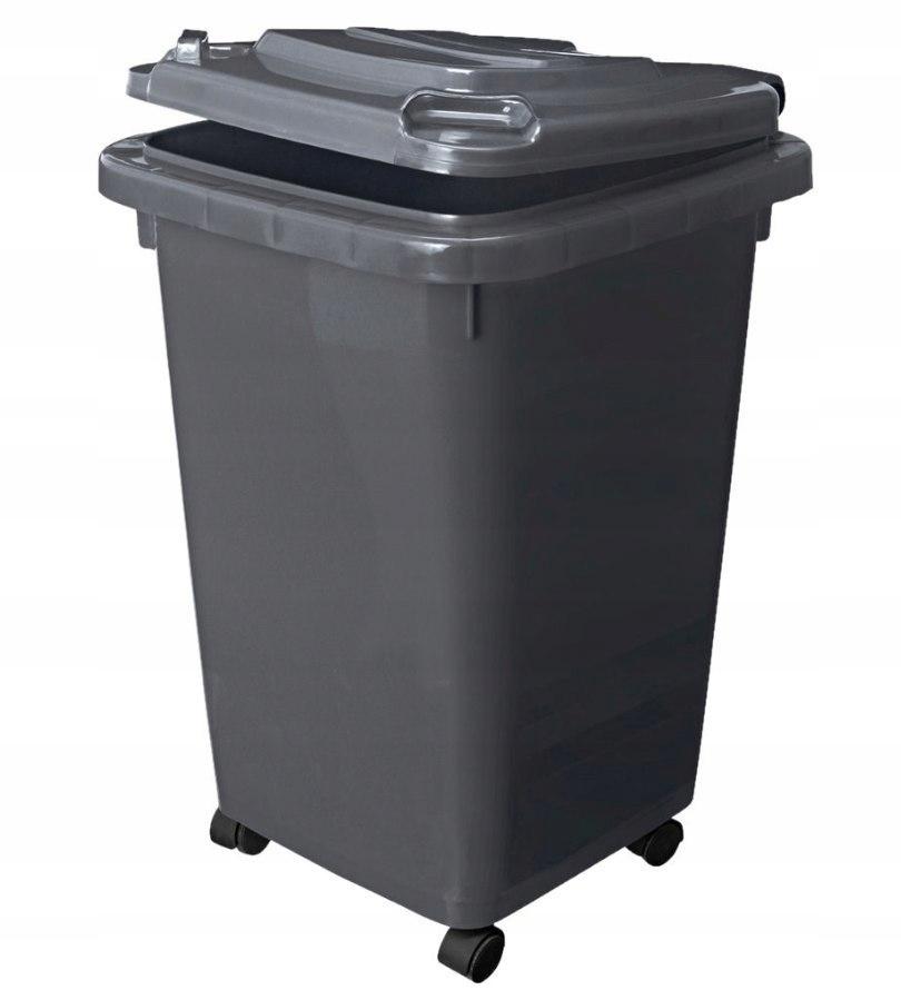Kosz smieci 60l szara klapa pokrywa śmieci segrega