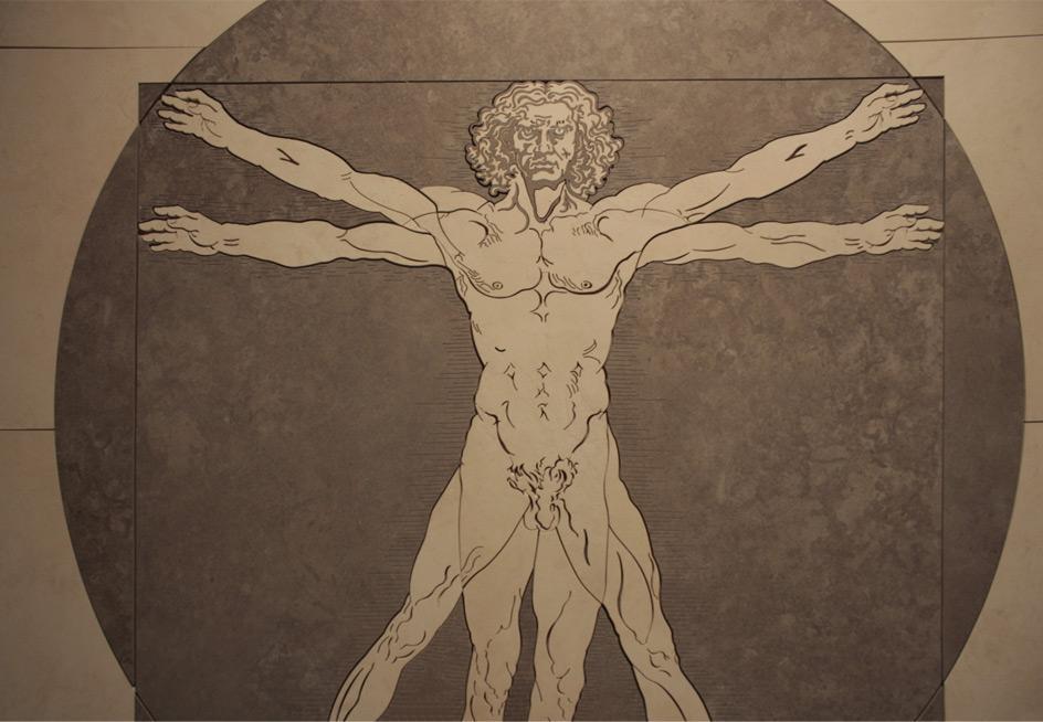 Mozaika Leonardo da Vinci wykonana waterjetem
