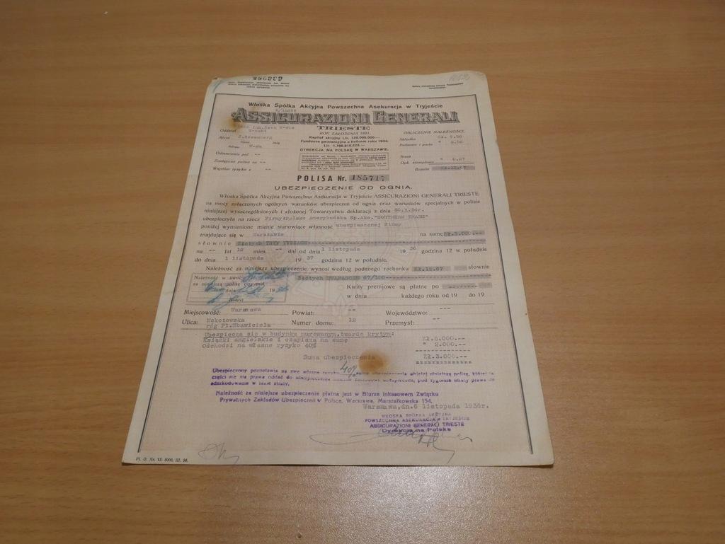Polisa ubezpieczeniowa WARSZAWA 1936 r BCM