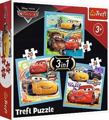 Puzzle 3w1 Auta, Przygotowanie do wyścigu