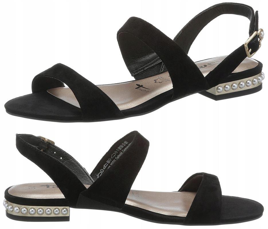 sandały tamaris czarne zamsz