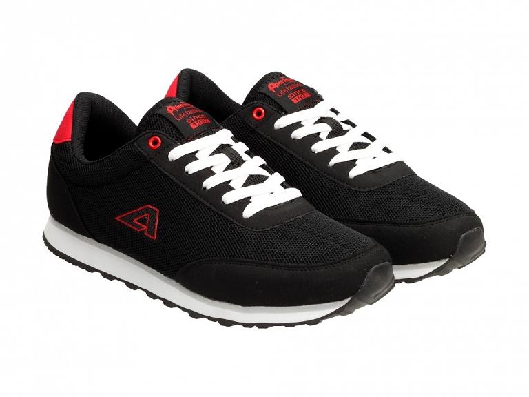 Czarne sportowe buty męskie AMERICAN CLUB 1756 r45