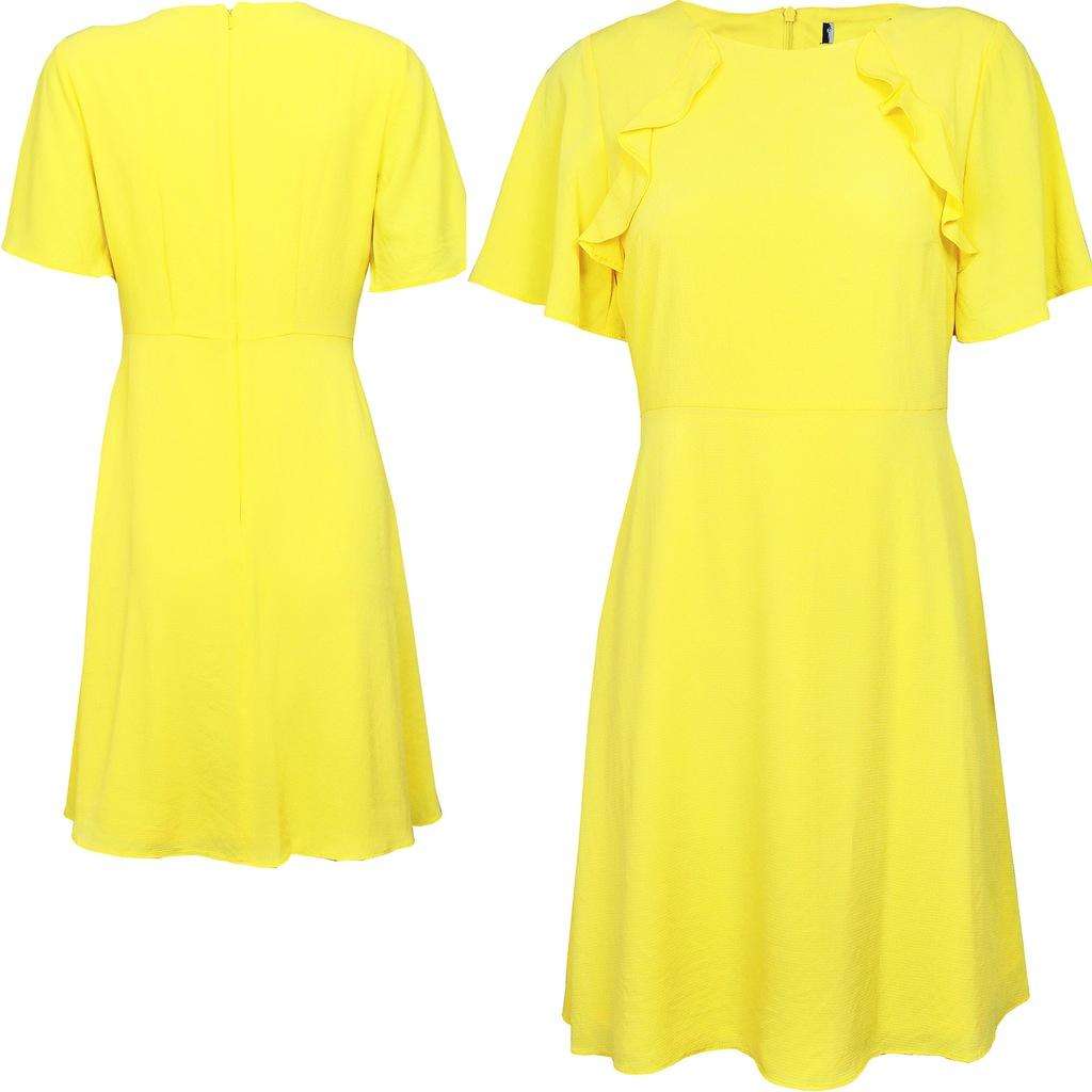 Dorothy Perkins Cytrynowa Sukienka Midi Zip L 40