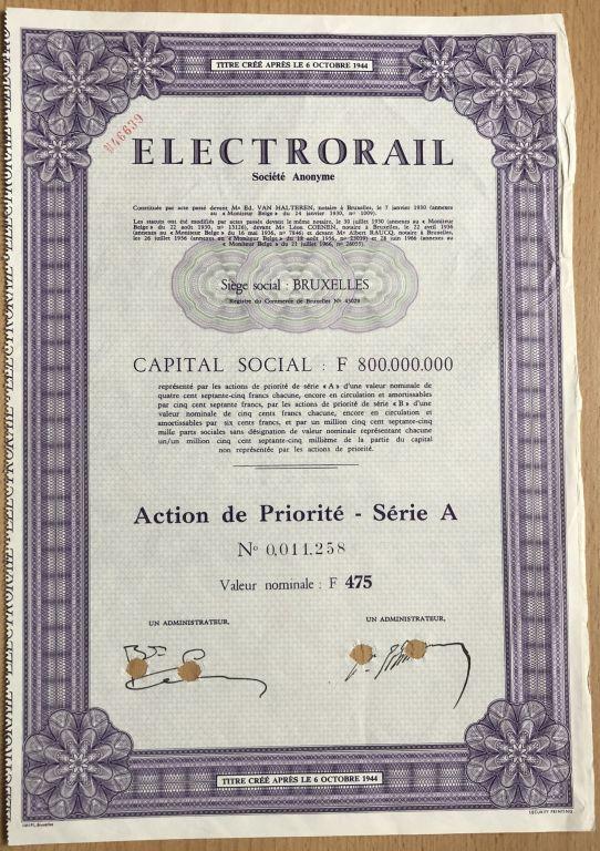 Electrorail, Spółka Akcyjna w Brukseli