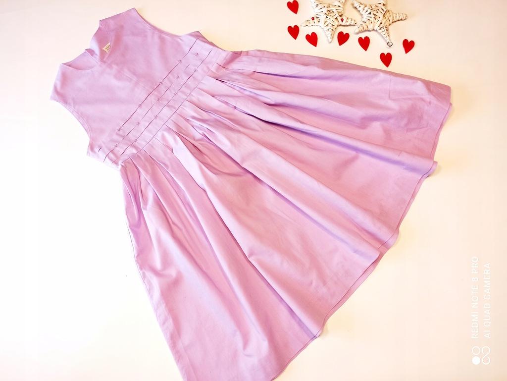 Zig Zag sukienka bawełniana liliowa cudna 116