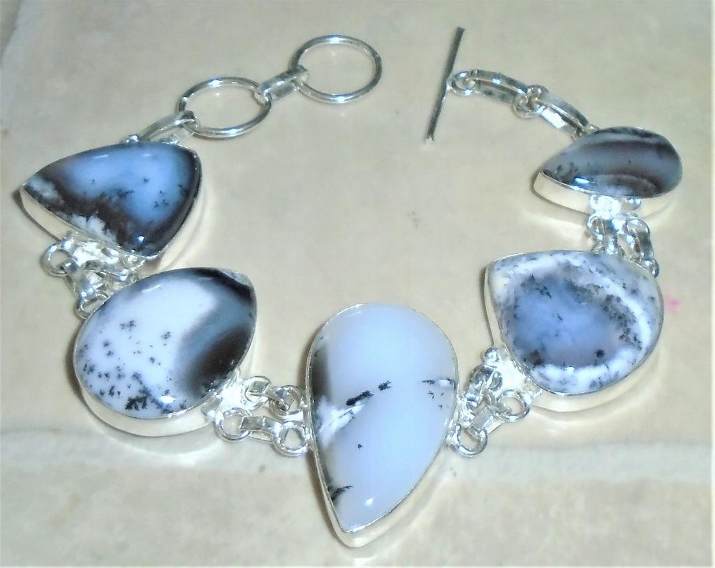 bransoletka z naturalnymi dendrite opalami