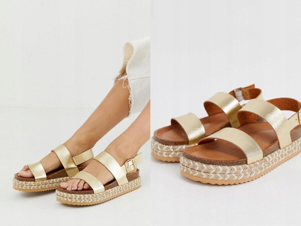 Skórzane sandały w kolorze złotym ALDO Ruryan 40