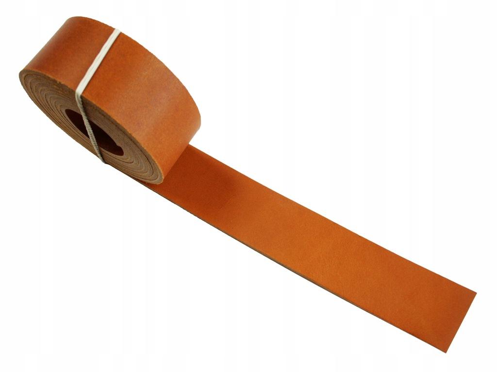 Pasek skórzany na torebki 35 mm ~200cm - koniak
