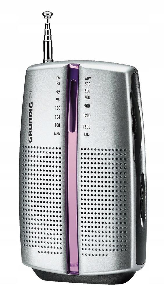 J Grundig City radio przenośne (tuner FM/MW) Chrom