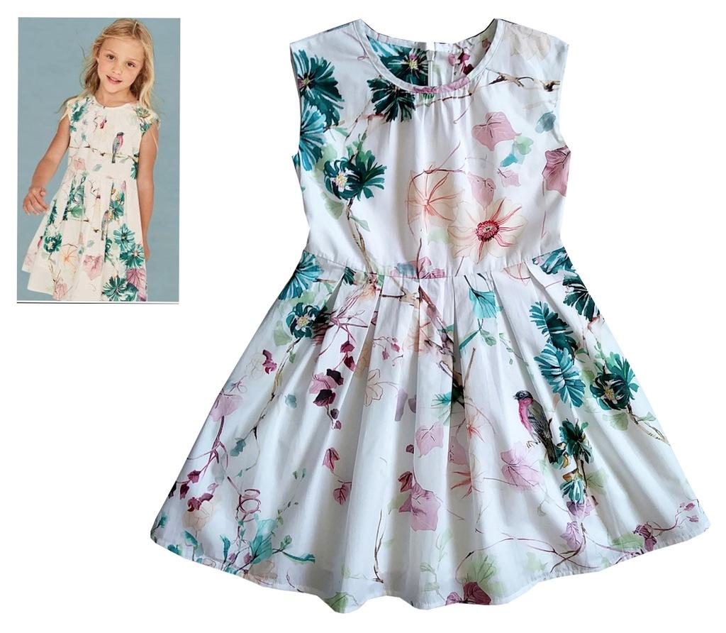 NEXT sukienka ptaszki kwiaty 8 lat 128